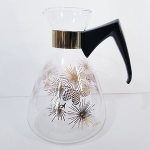 Pyrex Glass Coffee Percolator with Gold Pinecones